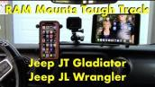 Jeep JT Gladiator : JL Wrangler RAM Mounts Tough Track iPhone IPad GoPro Install : Review