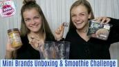 Mini Brands Unboxing \u0026 Smoothie Challenge Jacy and Kacy